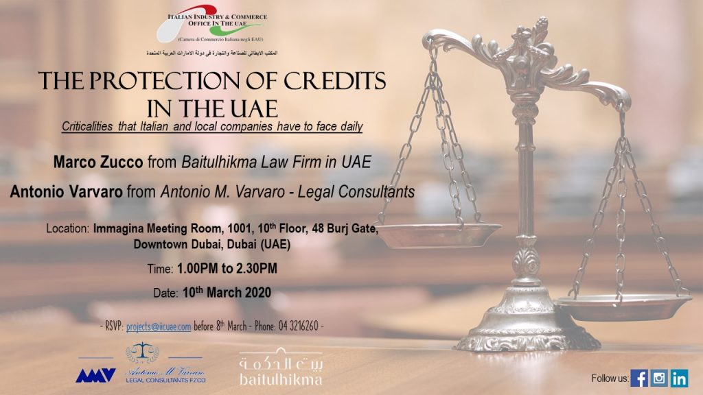 Seminar – The Protection of Credits in the UAE – 10th March 2020